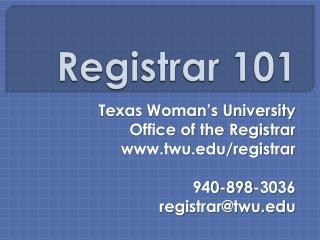 Registrar 101
