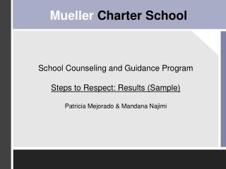 School Counseling and Guidance Program Steps to Respect: Results (Sample) Patricia Mejorado & Mandana Najimi
