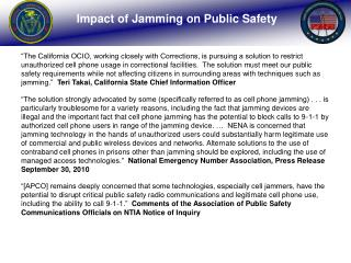 Impact of Jamming on Public Safety
