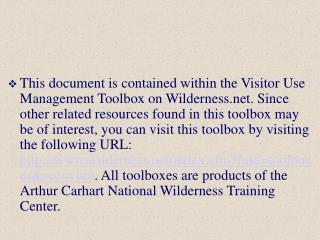 Visitor Use Management