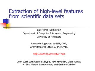 Extraction of high-level features from scientific data sets