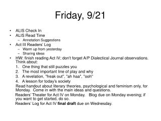 Friday, 9/21