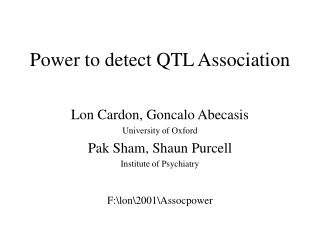 Power to detect QTL Association