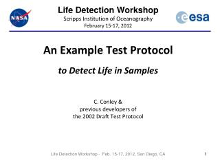 Life Detection Workshop Scripps Institution of Oceanography February 15-17, 2012
