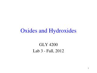 Oxides and Hydroxides