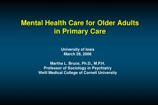Mental Health Care for Older Adults in Primary Care