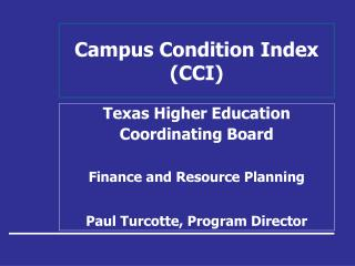 Campus Condition Index  (CCI)