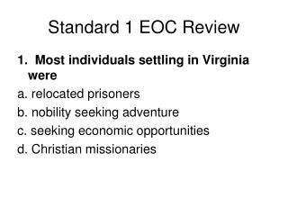 Standard 1 EOC Review