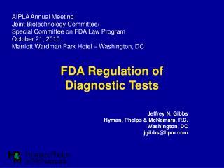 FDA Regulation of  Diagnostic Tests