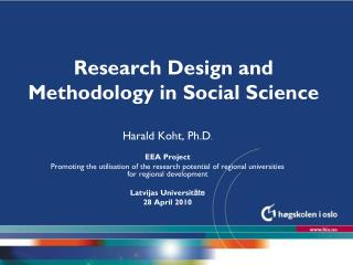 Research Design and Methodology in Social Science