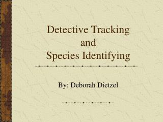 Detective Tracking  and  Species Identifying