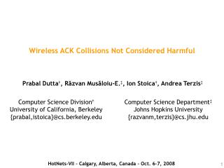 Wireless ACK Collisions Not Considered Harmful