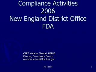 Compliance Activities 2006 New England District Office FDA