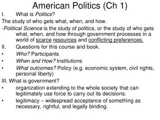 American Politics (Ch 1)