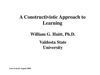 A Constructivistic Approach to Learning