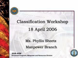 Classification Workshop 18 April 2006
