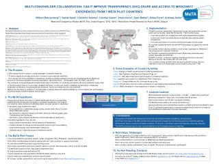 MULTI-STAKEHOLDER COLLABORATION: CAN IT IMPROVE TRANSPARENCY, DISCLOSURE AND ACCESS TO MEDICINES?  EXPERIENCES FROM 7 M
