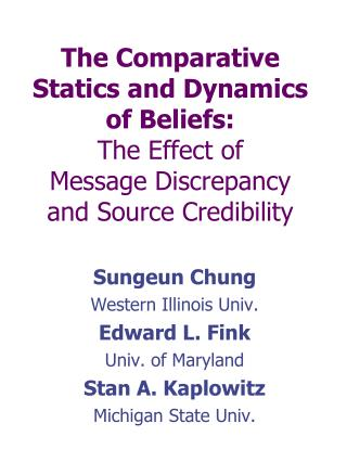 The Comparative Statics and Dynamics of Beliefs:  The Effect of  Message Discrepancy and Source Credibility