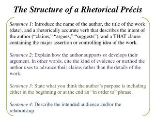 The Structure of a Rhetorical Précis