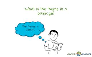What is the theme in a passage?