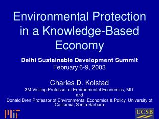 Environmental Protection in a Knowledge-Based Economy
