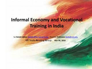 Informal Economy and Vocational Training in India
