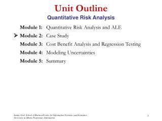 Unit Outline Quantitative Risk Analysis