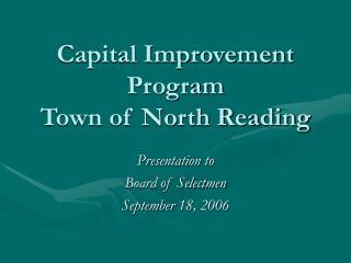 Capital Improvement Program Town of North Reading