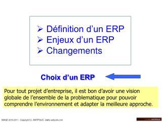 Choix d�un ERP