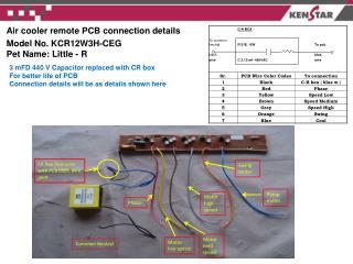 Air cooler remote PCB connection details