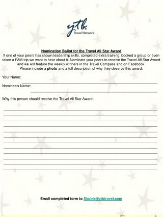 Nomination Ballot for the Travel All Star Award