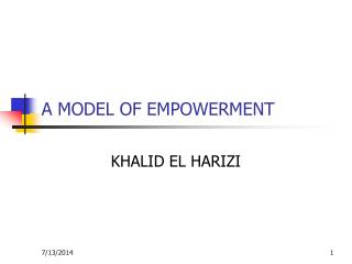 A MODEL OF EMPOWERMENT