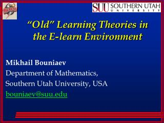 Old  Learning Theories in the E-learn Environment