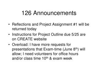 126 Announcements