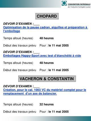 DEVOIR D'EXAMEN: Optimisation de la pause cadran, aiguilles et préparation à  l'emboîtage Temps alloué (heures)  48 h