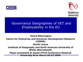 Governance Geographies of VET and Employability in the EU