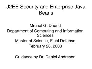 J2EE Security and Enterprise Java Beans
