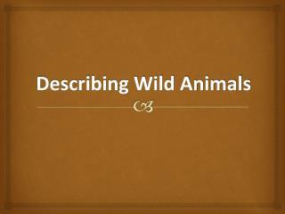 Describing Wild Animals