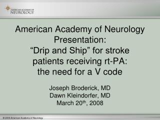American Academy of Neurology Presentation: