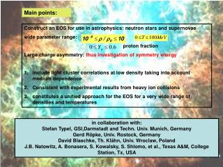 Construct an EOS for use in astrophysics: neutron stars and supernovae wide parameter range: