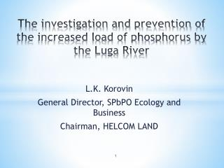 The investigation and prevention of the increased load of phosphorus by the Luga River