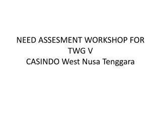 NEED ASSESMENT WORKSHOP FOR TWG V CASINDO West Nusa Tenggara