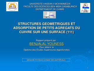 STRUCTURES GEOMETRIQUES ET ADSORPTION DE PETITS AGREGATS DU CUIVRE SUR UNE SURFACE (111)