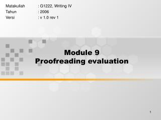 Module 9 Proofreading evaluation