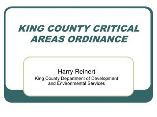 KING COUNTY CRITICAL AREAS ORDINANCE