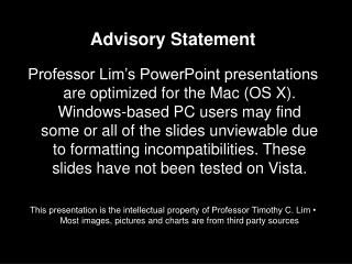Advisory Statement