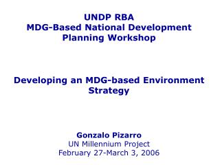 The MDGs and the environment