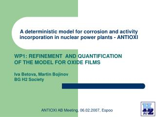 A deterministic model for corrosion and activity incorporation in nuclear power plants  - ANTIOXI
