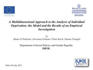 Department of Social Policies and Gender Equality  ISFOL