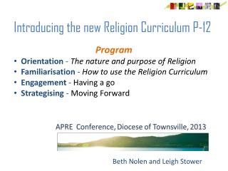 Introducing the new Religion Curriculum P-12